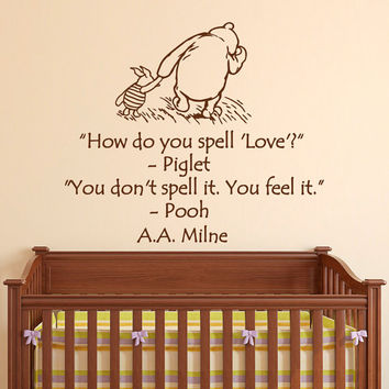 Nursery Wall Sticker Winnie The Pooh And Piglet Bedroom Decor Decal Sometimes Smallest Things Quote