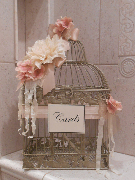 chaise in living room colour schemes grey sofa birdcage wedding card holder / vintage from yesmorefunk on ...
