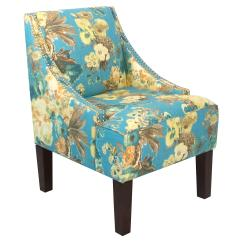 Floral Arm Chair Folding Caps Cam Swoop Blue Accent From One Kings Lane