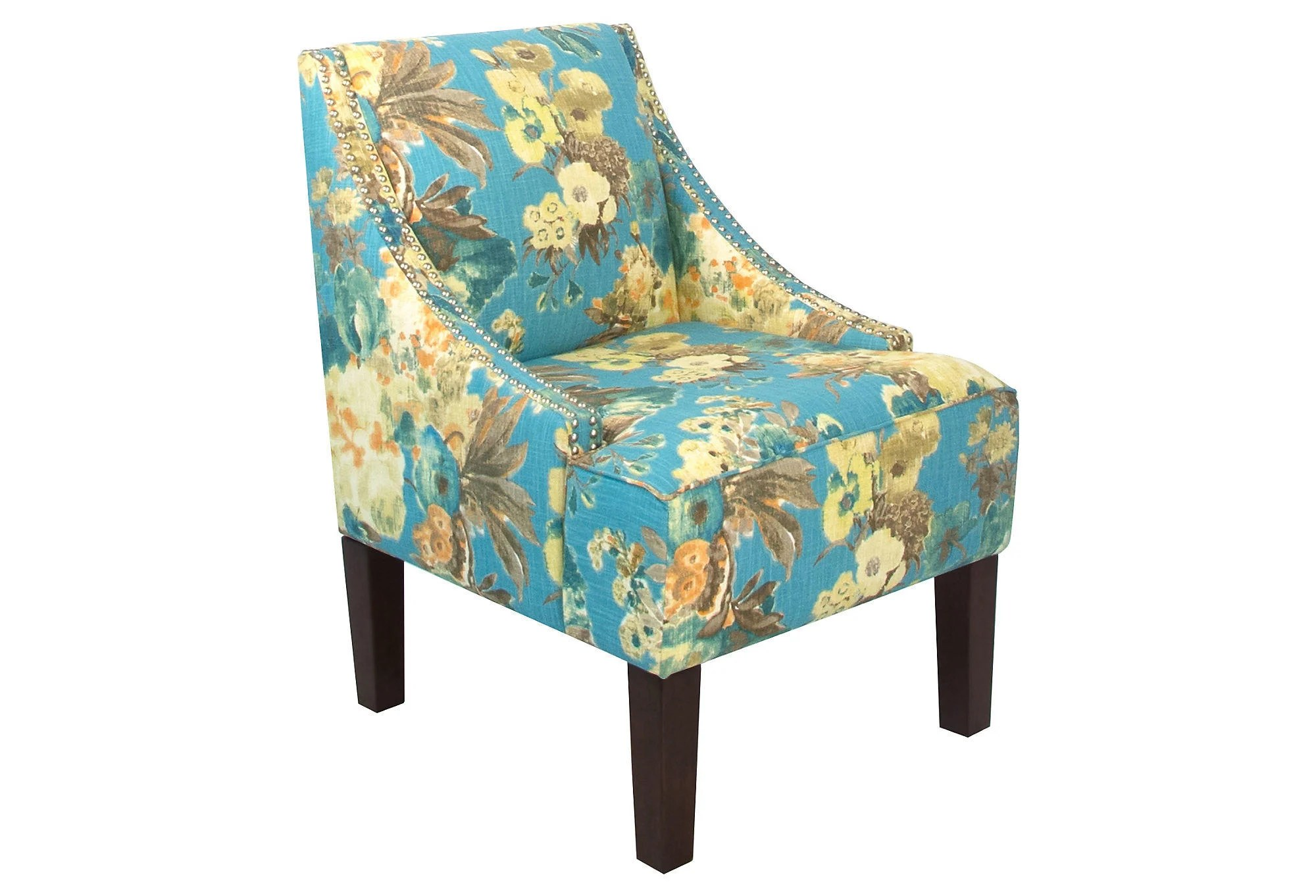 Floral Chairs Cam Swoop Arm Chair Blue Floral Accent From One Kings Lane