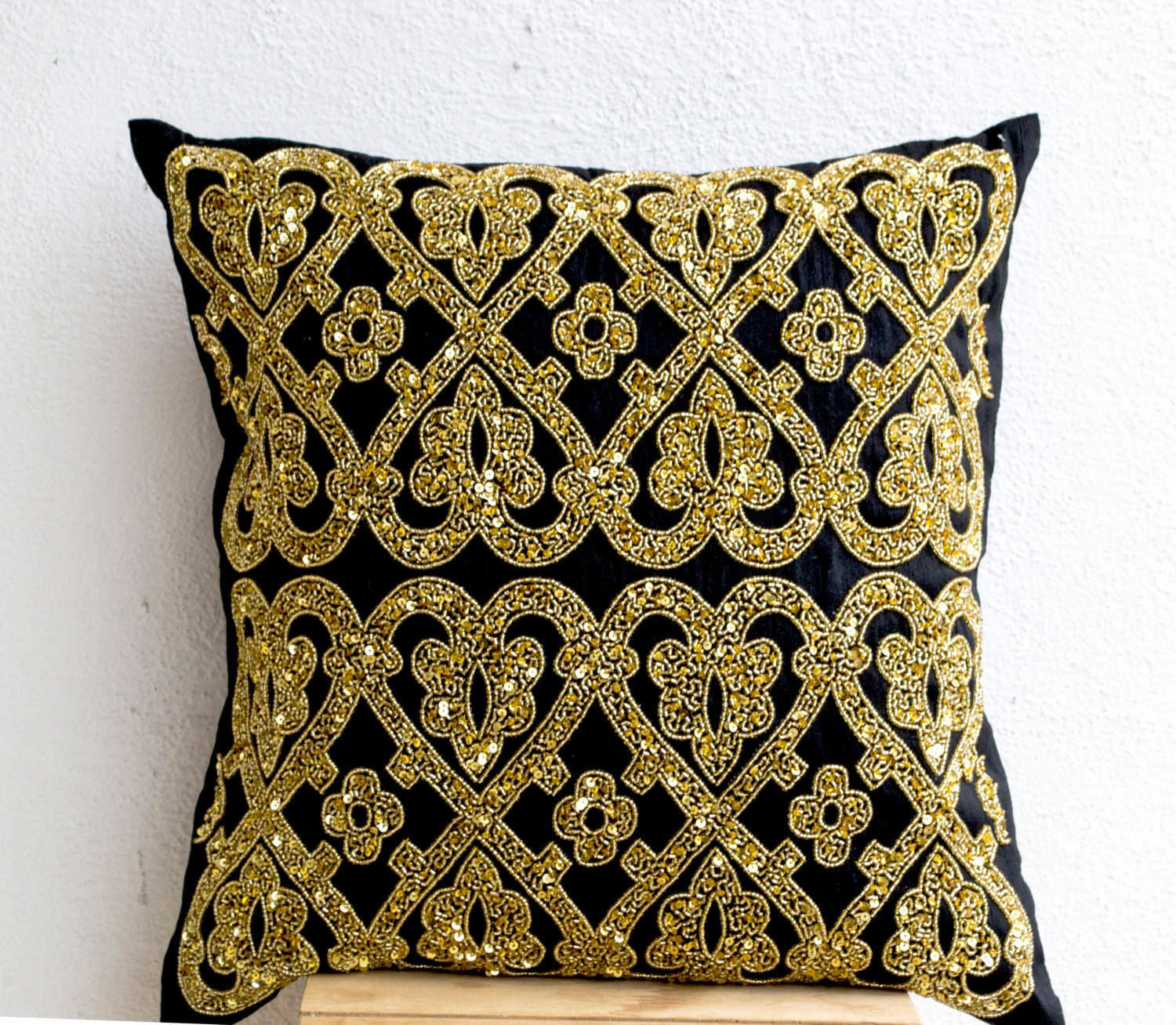 Decorative Throw Pillow Black Silk Gold from casaamore