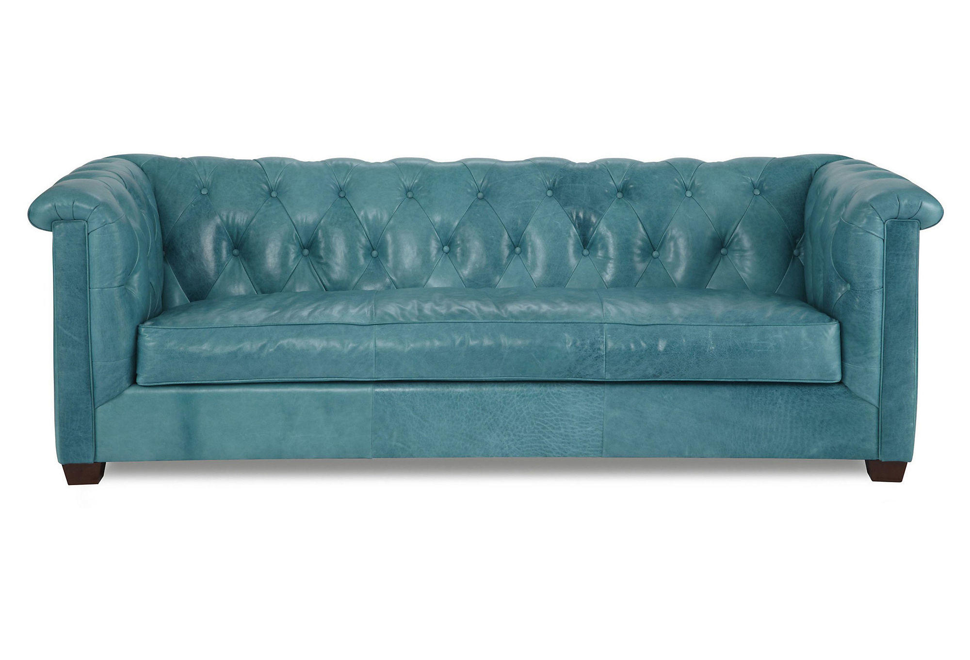 tufted turquoise sofa leather sectional alexa from one kings lane
