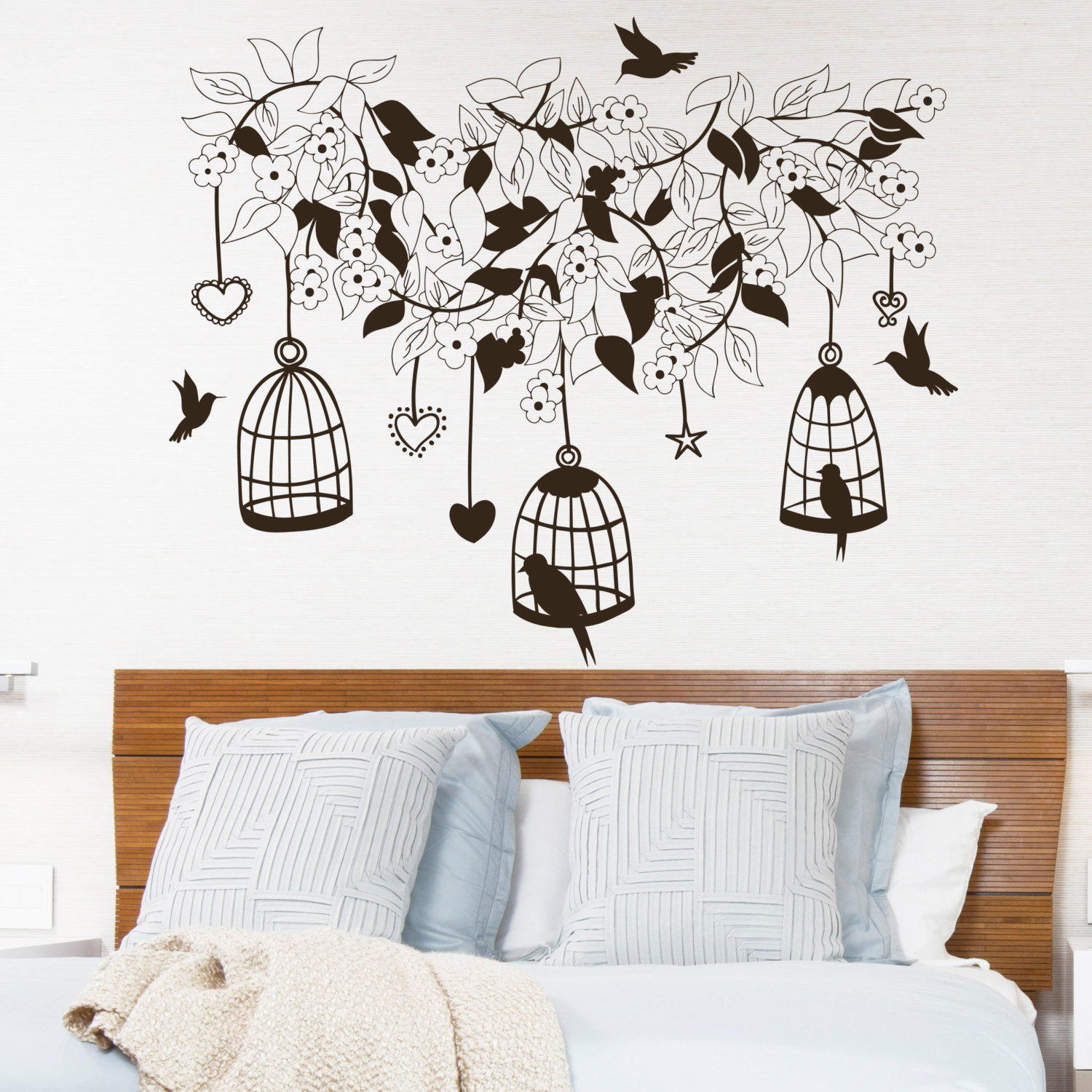Wall Decal Flowers Tree Birds in Cage from DecalsfromDavid on
