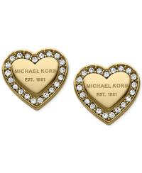 Michael Kors Crystal Heart Stud Earrings from Macys