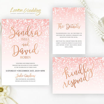 Blush Pink And Rose Gold Wedding Invitation Sets Glitter Bundle Confetti