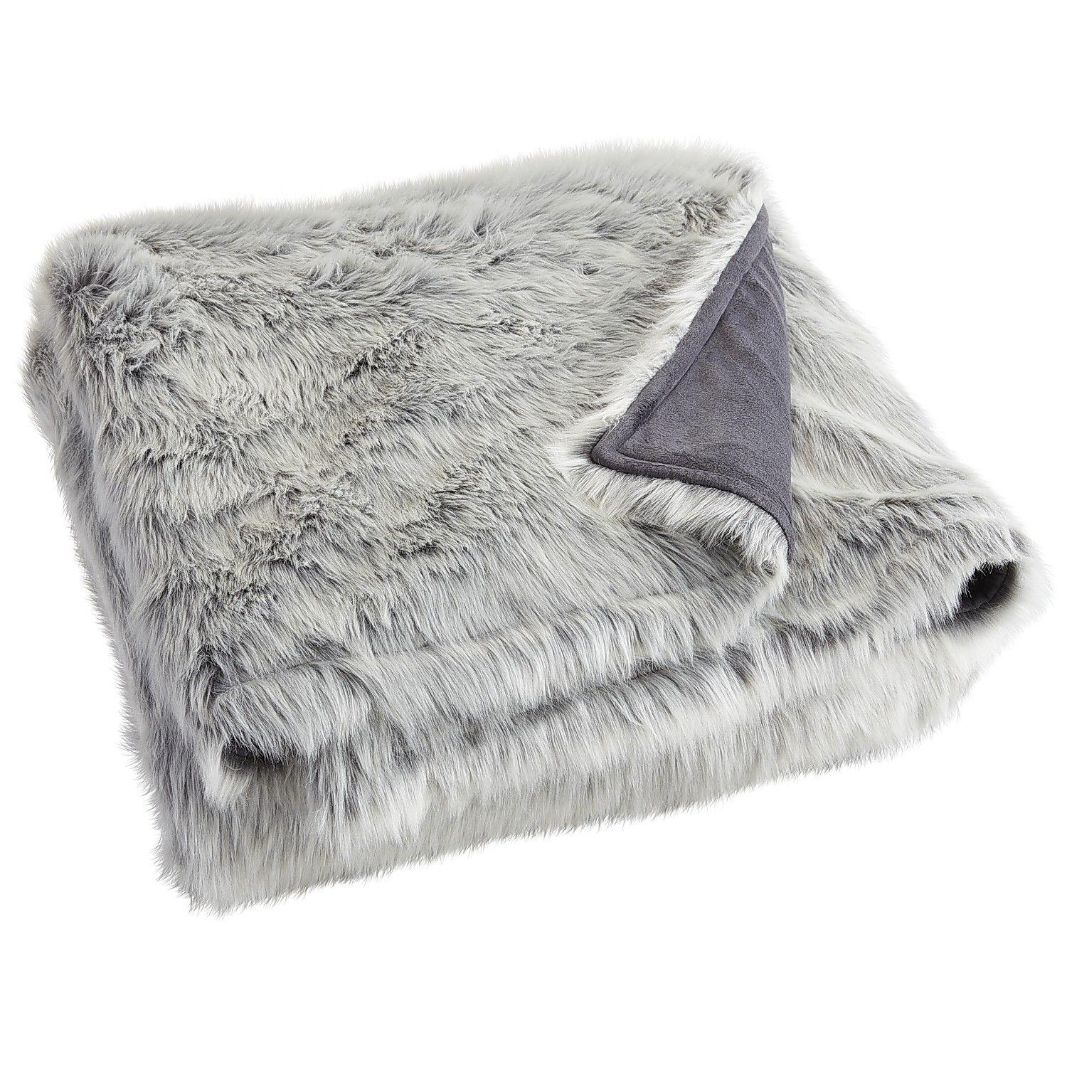 Gray Ombre Faux Fur Blanket  Shams from Pier 1 imports