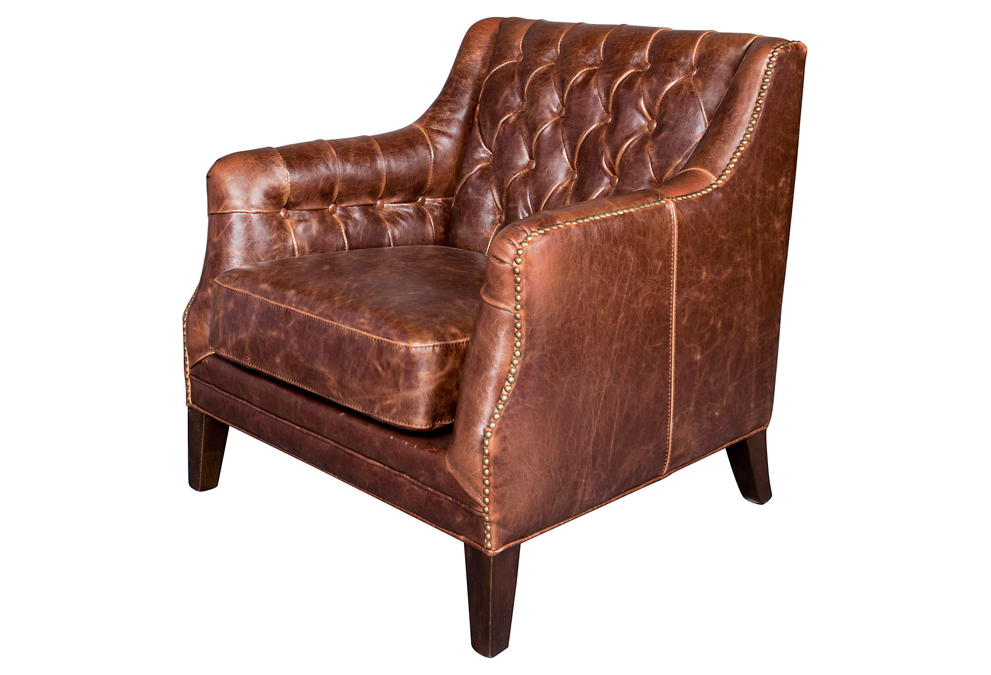 leather chairs of bath london swing chair wooden tufted club brown from one kings lane