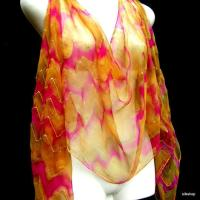 Hand Painted Silk Scarf Chiffon Gold from silkshop on Etsy ...