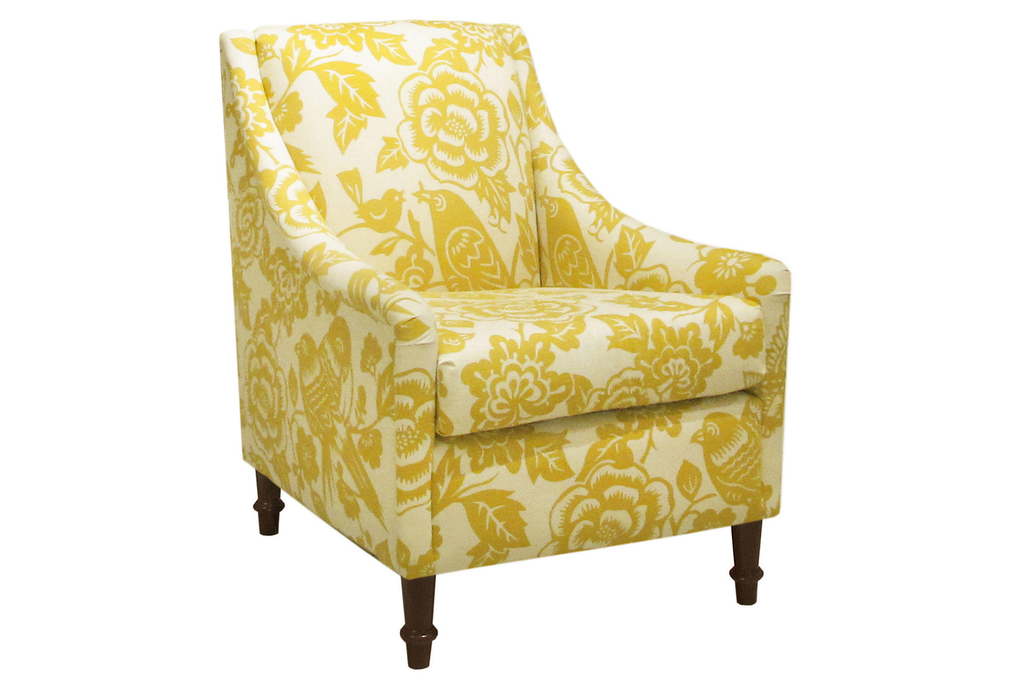 floral arm chair french brasserie chairs holmes swoop green from one kings lane