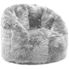 Big Joe Chairs Walmart Round Dining Table With Beansack Milano Faux Fur Bean Bag From Chair Grey Com