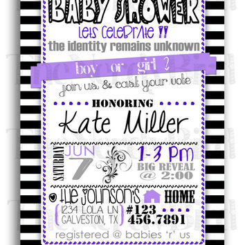 Purple and black baby shower invitations paperinvite black baby shower invitations on wanelo filmwisefo