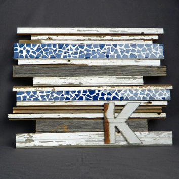 reclaimed barn wood wall art with tile from the white birch