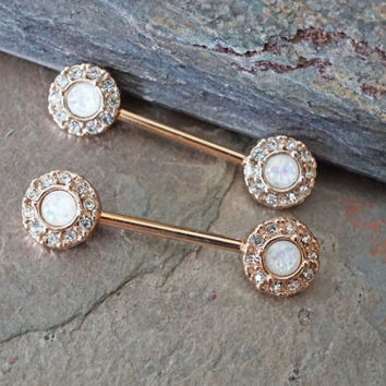 White Opal Rose Gold Nipple Ring Nipple from Midnights Mojo
