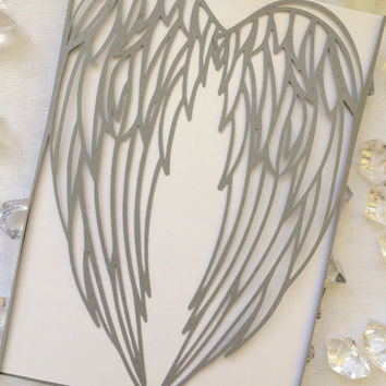 Angel Wings Cut Gatefold Wedding Invitation Winter Frozen Christmas Wing