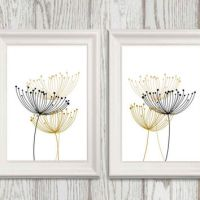Abstract Black and gold flower wall art from DorindaArt on