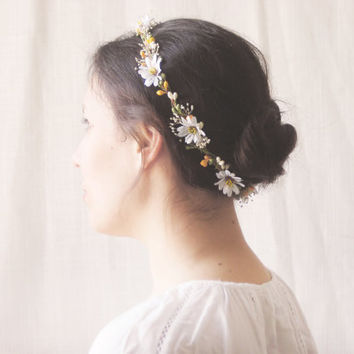 daisy flower crown rustic circlet from noon on the moon noon