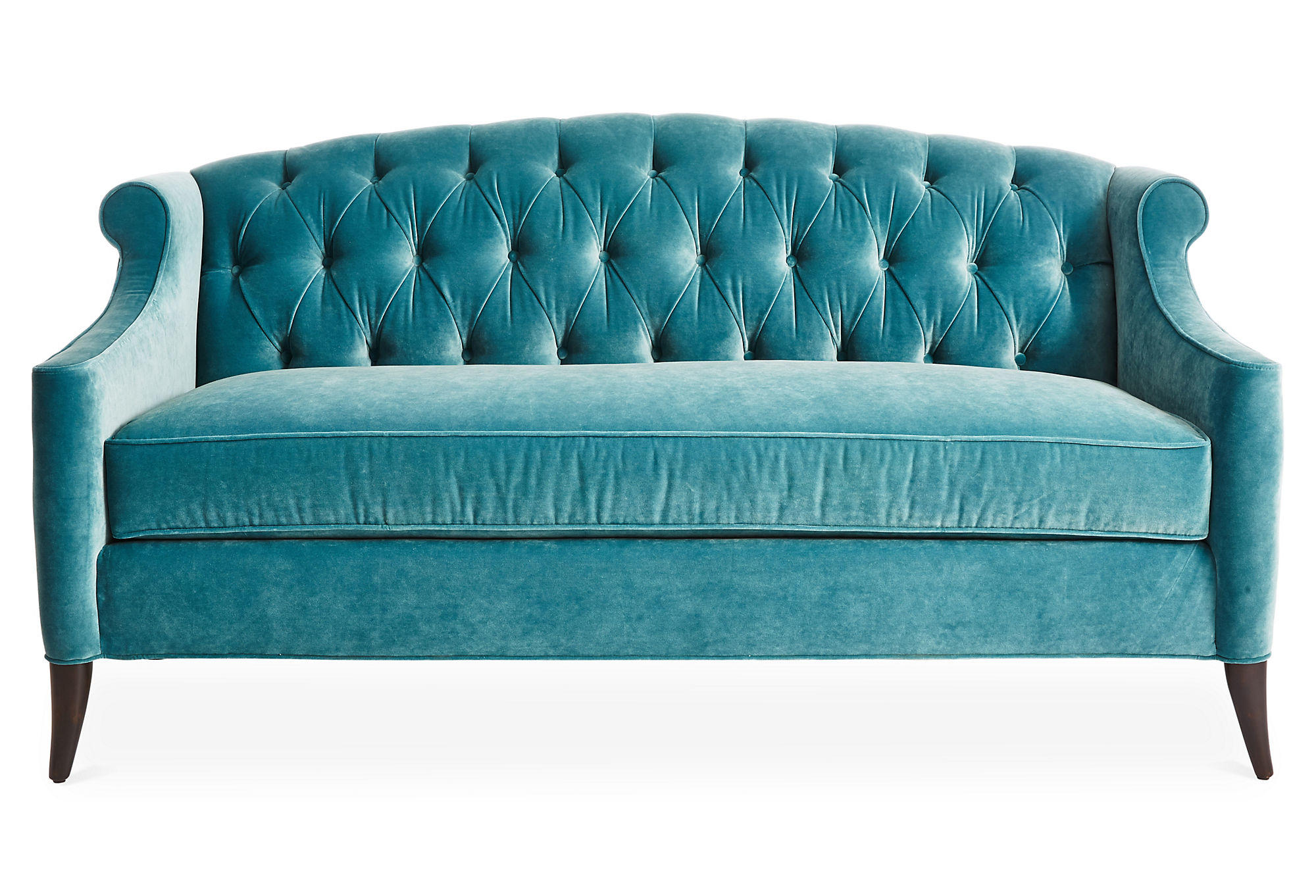 tufted sofa velvet casters cups coco 72 quot sea glass from one kings lane
