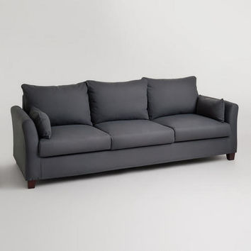 luxe 2 seat sofa slipcover www come bed charcoal canvas 3 from cost plus world market