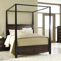 Queen Size Sturdy Wooden Frame Canopy Bed from Hearts Attic