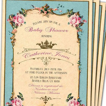 Vintage Pink Baby Shower Invitations On Wanelo
