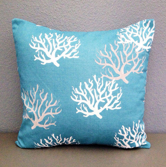 Teal Coral Decorative Pillow Home Decor from AshlysBoutique on