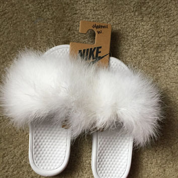 Furry Nike Slides from FancyFurByMuff on Etsy
