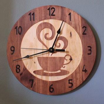 wooden kitchen clock best pull out faucet coffee cup teacup wood from bunbunwoodworking wall home decorative