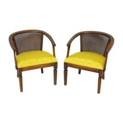 Mid Century Modern Cane Barrel Chairs Reclining Lift Shop On Wanelo Pre Owned Horseshoe A Pair