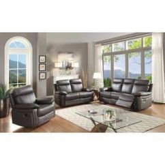 Ryker Reclining Sofa And Loveseat 2 Piece Set Wooden With Leather Cushions Best Products On Wanelo