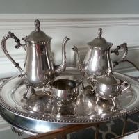 Antique silverplate tea set, 2 silver tea from PickedTwice
