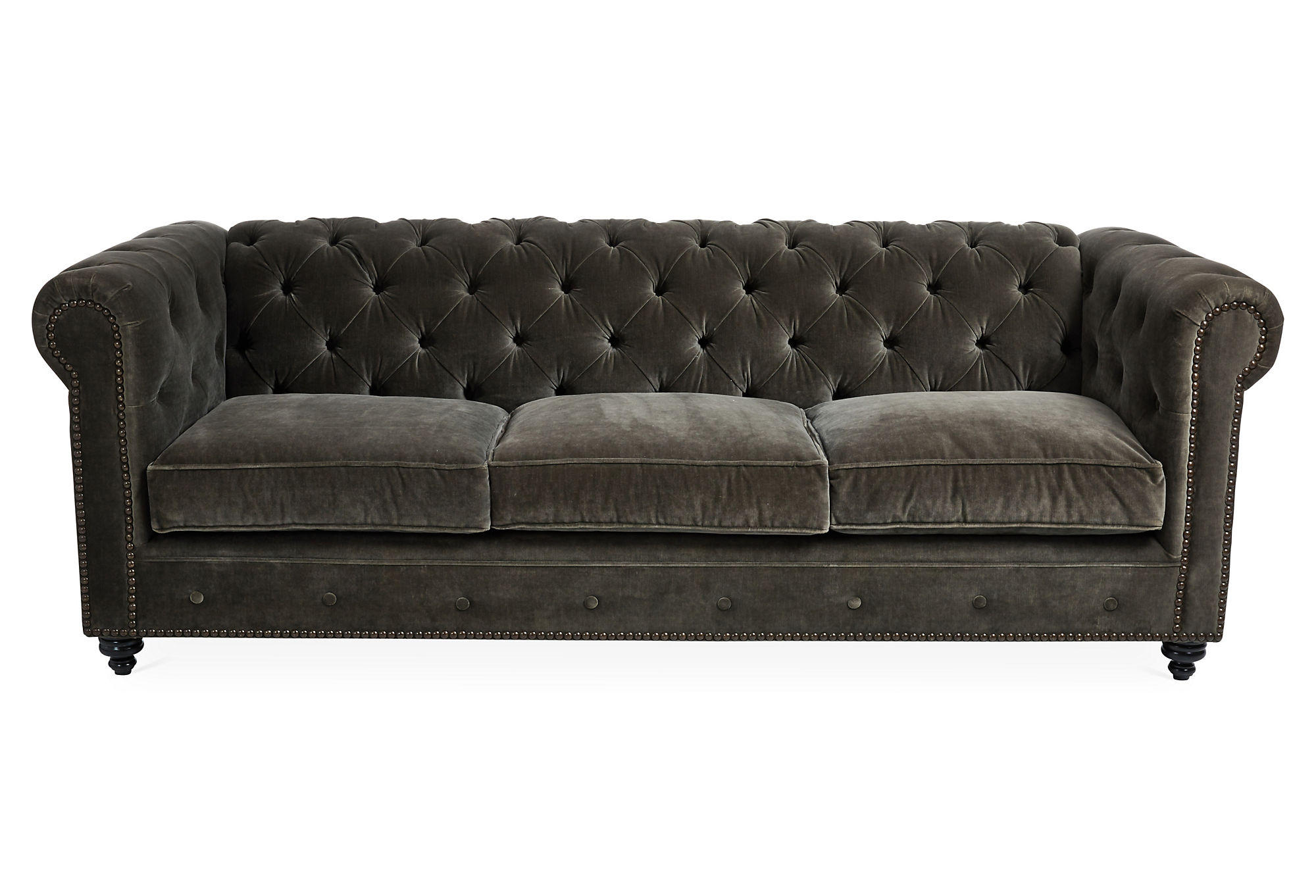 velvet grey tufted sofa milano leather next ralph 96 quot dark gray from one kings lane