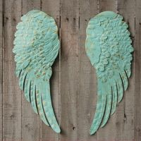 Aqua angel wings wall decor from The Vintage Artistry