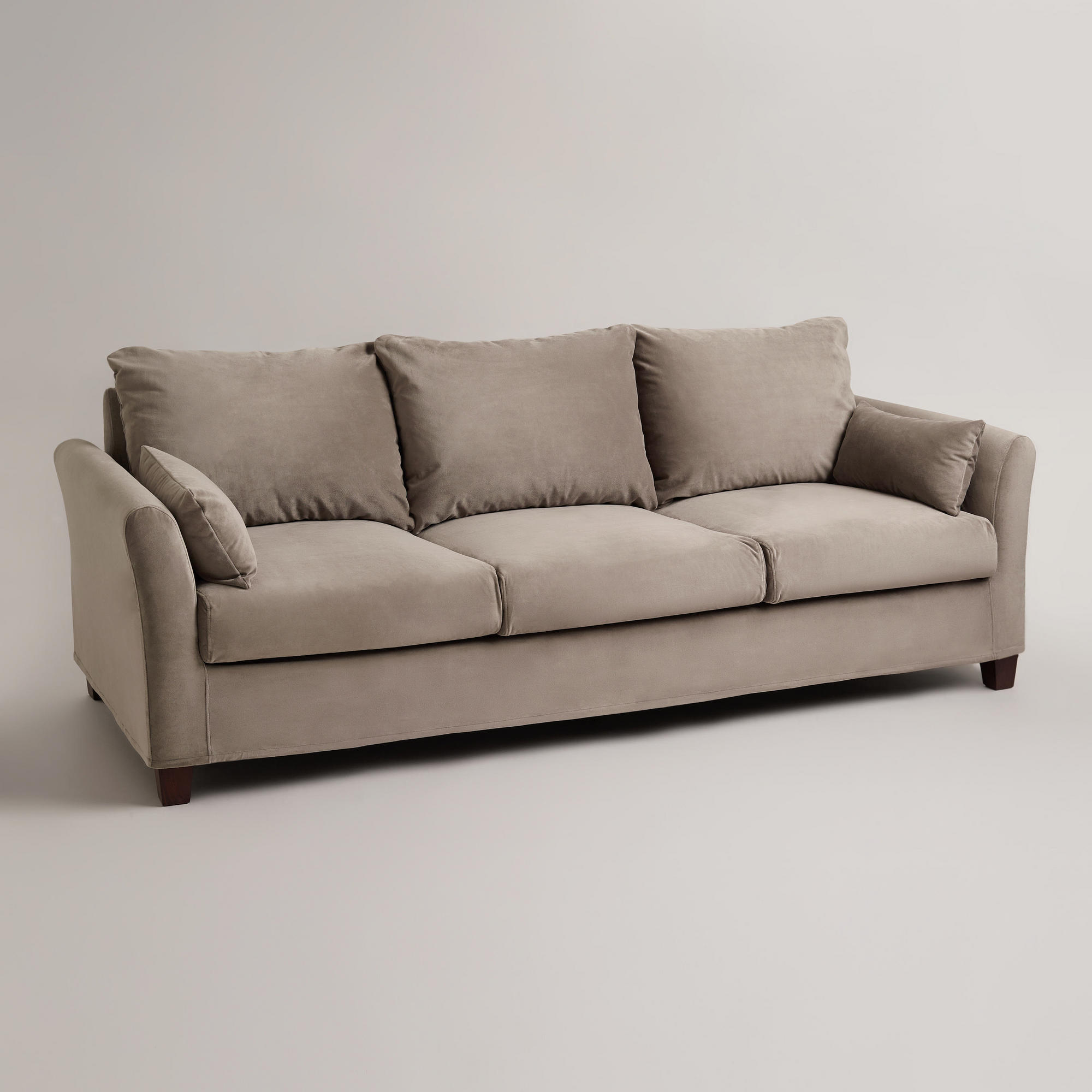 luxe 2 seat sofa slipcover dfs french connection zinc leather gray mink velvet 3 from cost plus world market