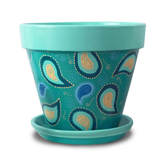 Flower Pot Aqua Blue Turquoise from MicheleCordaroDesign on