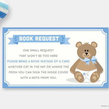 Seahorse Shower Book Request Printable Baby Boy Card Bring
