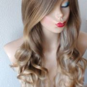 brown ash blonde ombre wig. long