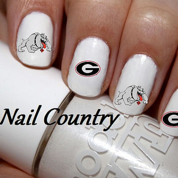50pc Geia Bulldogs Football Nail Decals Art Stickers Best On Etsy Nc199