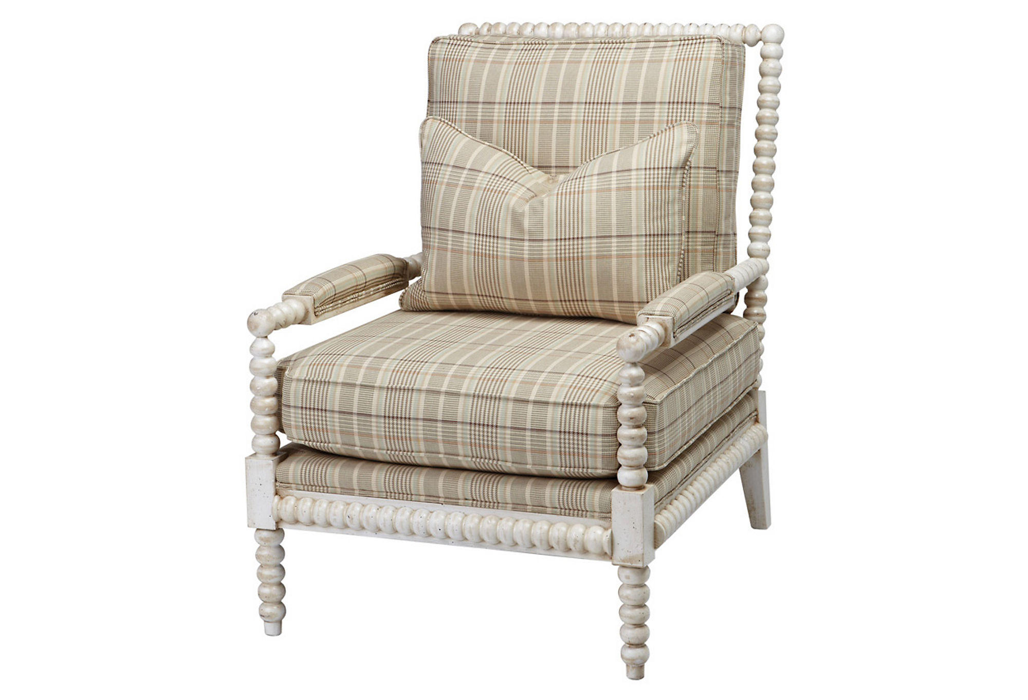 Plaid Chair Helen Plaid Spindle Chair Beige Accent From One Kings Lane