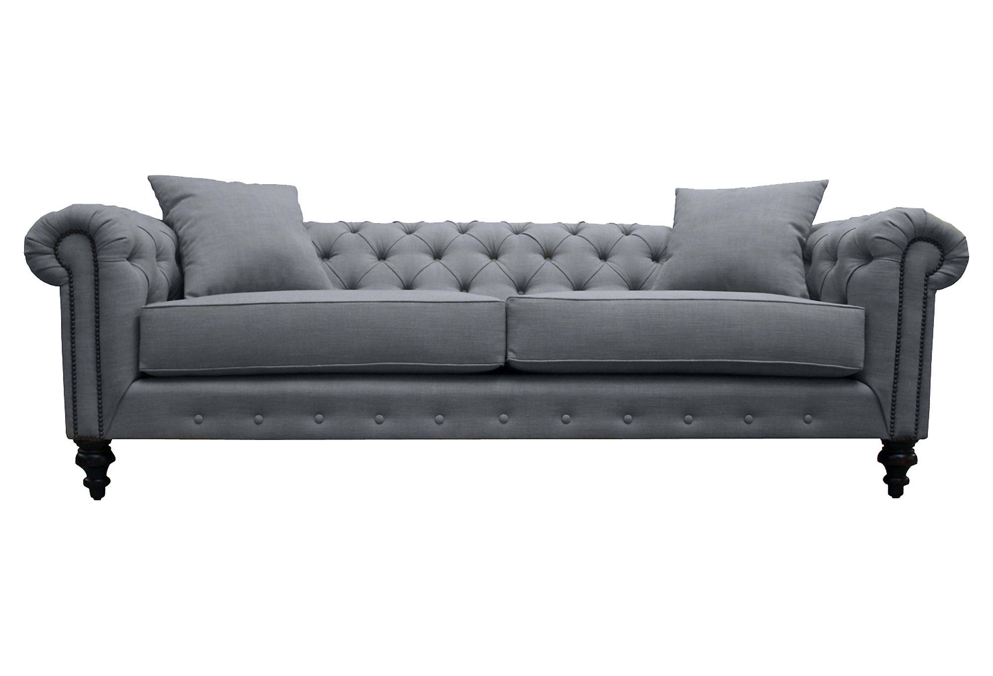 grey linen tufted sofa moheda corner bed cover maria 90 quot chesterfield gray from one kings lane