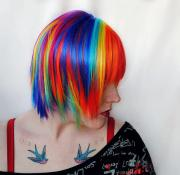 rainbow explosion wig blue purple