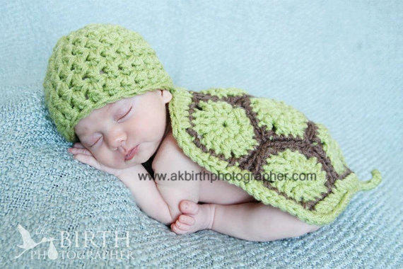 Baby Hats Baby Turtle Newborn Photo from knoodleknits on