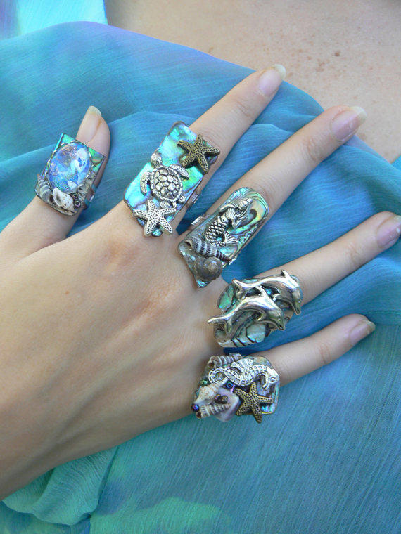 PICK ONE Sea Life Abalone Ring Sea Turtle From Gilded In Gypsy
