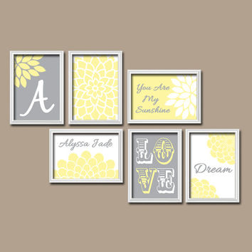 Yellow Gray Jungle Stickers With Elephant Wall Mural For Kids