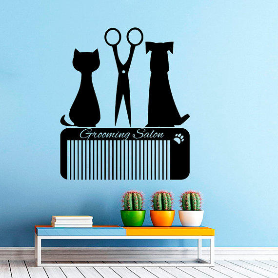 Grooming Salon Wall Decal Pet Shop Vinyl from