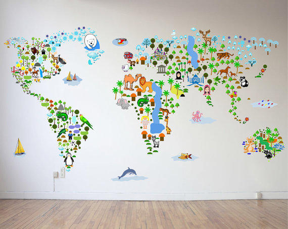 Map Wall Decal Vinyl