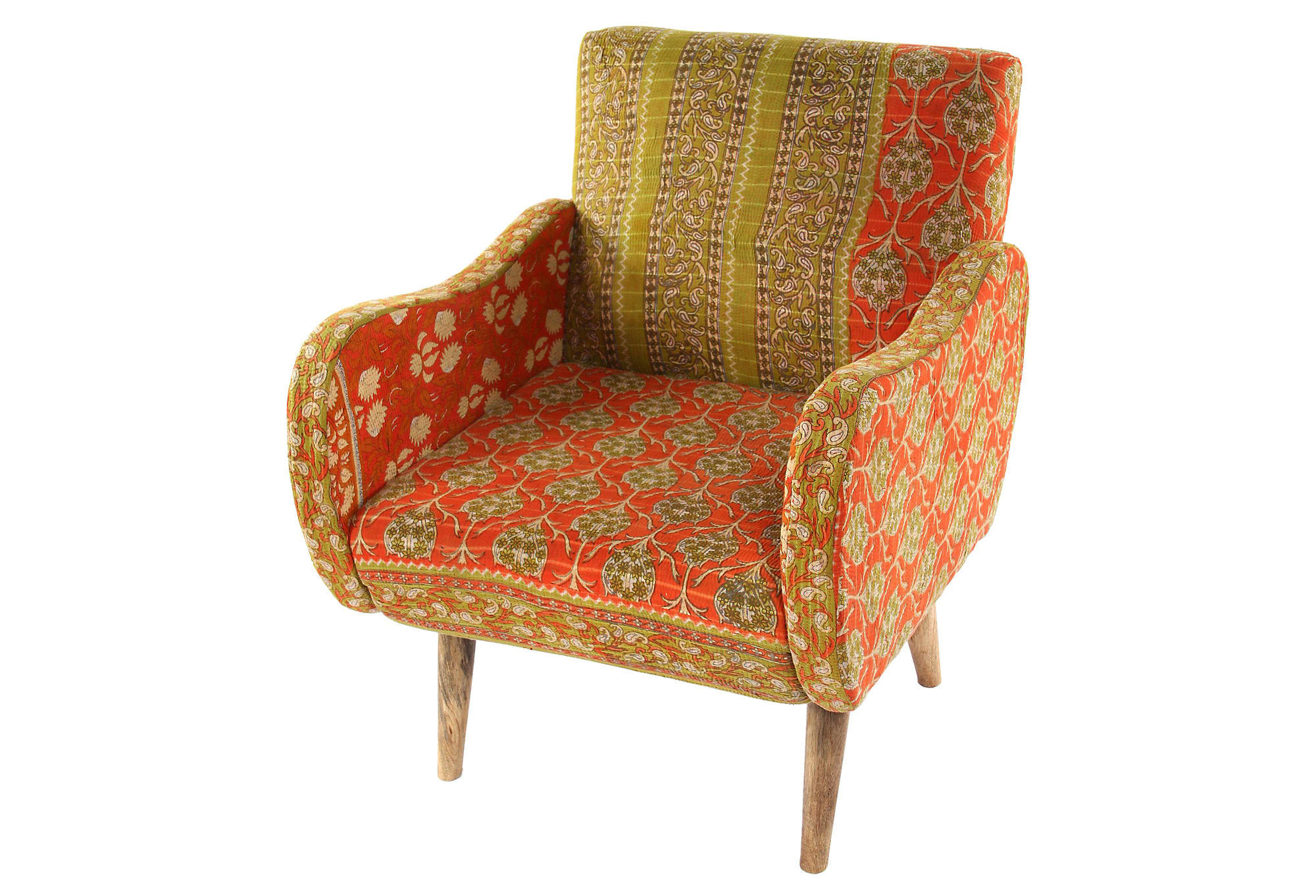 Anorak Chairs Kantha Accent Chair Orange Green Kantha From One Kings Lane