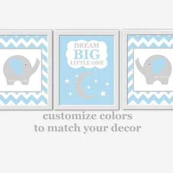 Baby Boy Nursery Wall Art Blue Gray from