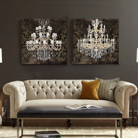 CHANDELIER Wall Art Canvas or Prints Gray from TRM Design ...