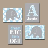 BOY Elephant Wall Art Baby Blue Boy from TRM Design