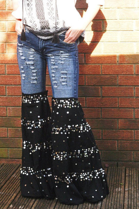 Hippie bell bottoms jeans upcycled cute from HappyHippyShop on
